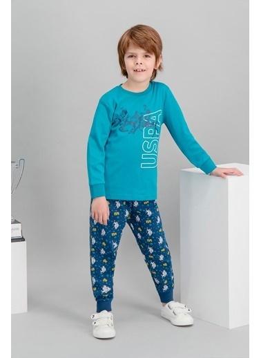 U.S. Polo Assn. U.S. Polo Assn Lisanslı Lacivert Erkek Çocuk Pijama Takımı Yeşil